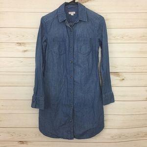 Merona Denim Button Down Shirt Dress, XS